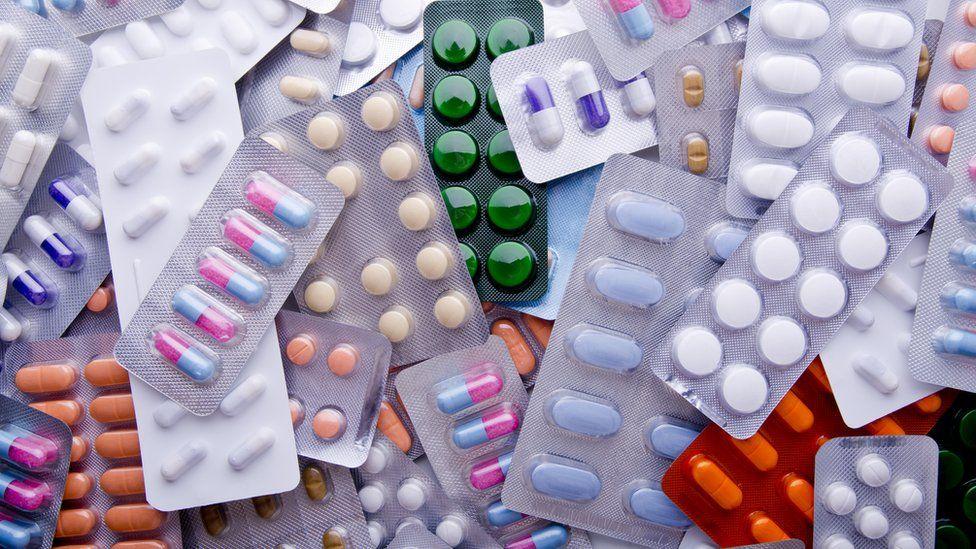 Packs of antibiotic medicines
