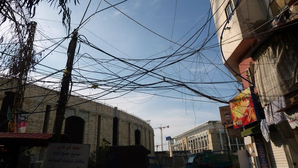 Electricity wires strung between buildings in the Shatila Palestinian refugee camp in Lebanon
