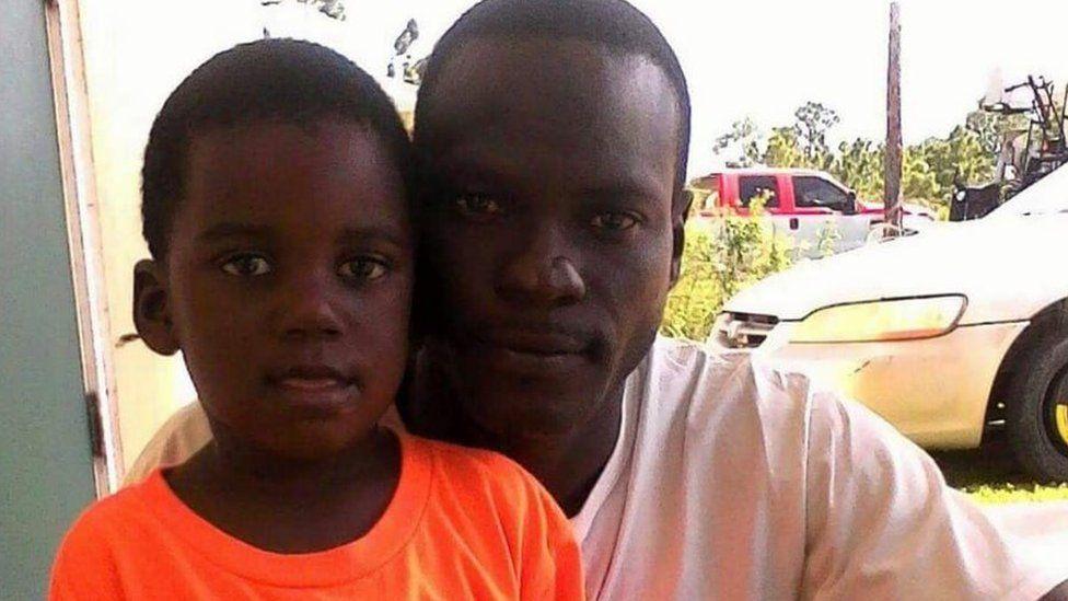 Adrian Farrington and his son