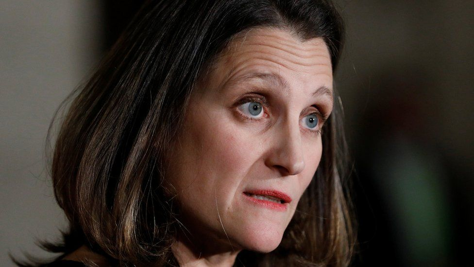 Canada's Foreign Minister Chrystia Freeland takes part in a news conference