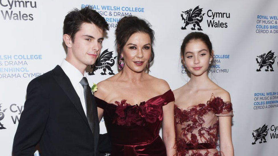 Catherine Zeta-Jones, with daughter Carys and son Dylan, at the Royal Welsh College of Music and Drama Gala in New York in March, 2019