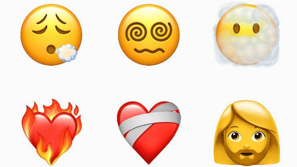 Six new emoji including facial exfoliation, bearded woman and heart burning