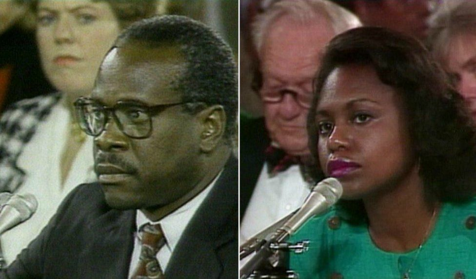 Anita Hill and Clarence Thomas speaking at investigative televised hearing