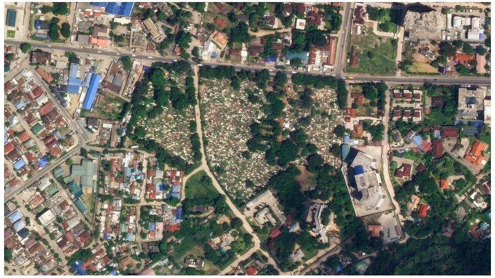 Satellite image of graveyard