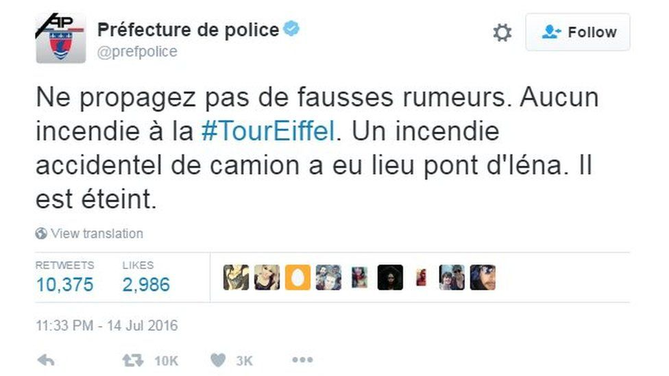Don't spread false rumours. No fire to the #TourEiffel. An accidental fire truck took place pont d ' Iéna.