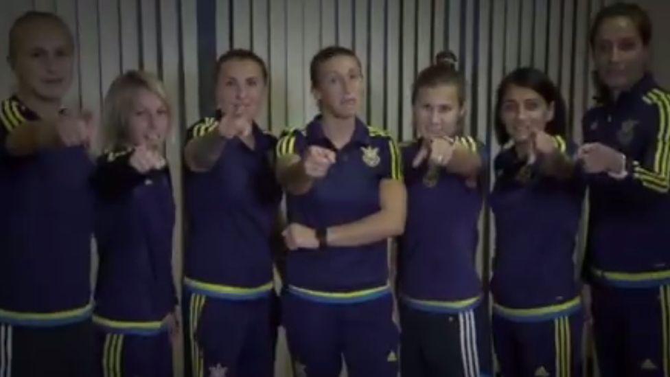 Screengrab from video promoting Ukrainian women's football team