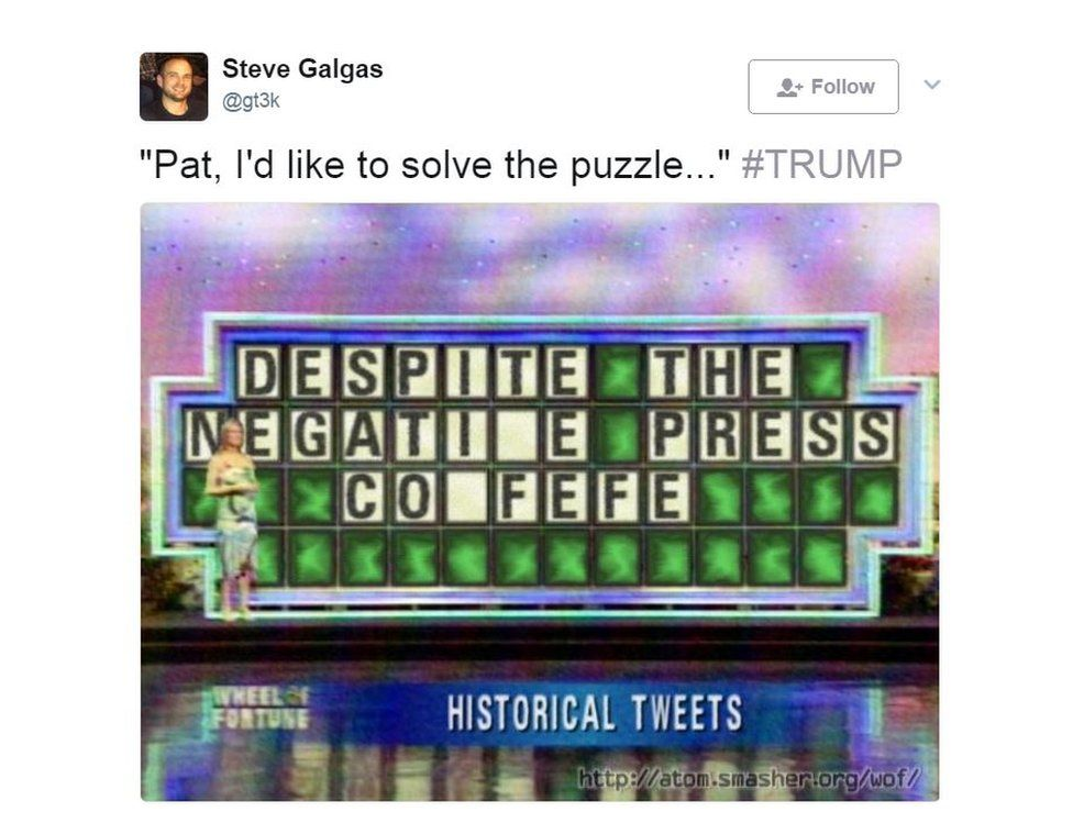 A recreation of the Wheel of Fortune game show, using Trump's tweet