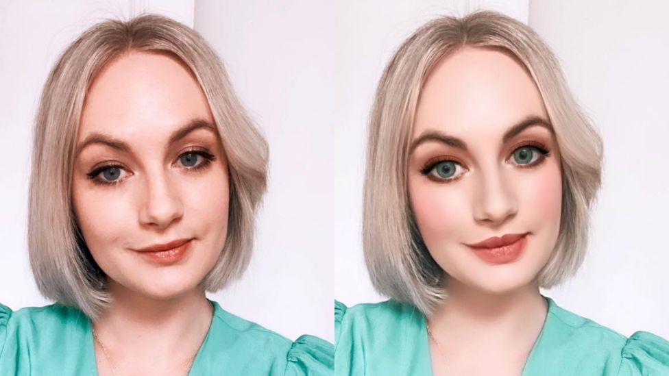 Technology reporter Cristina Criddle in two photos, one edited and the original