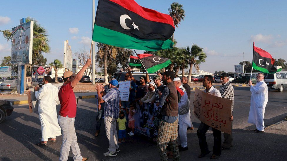 A protest in Benghazi against draft agreement talks backed by the UN (18 September)