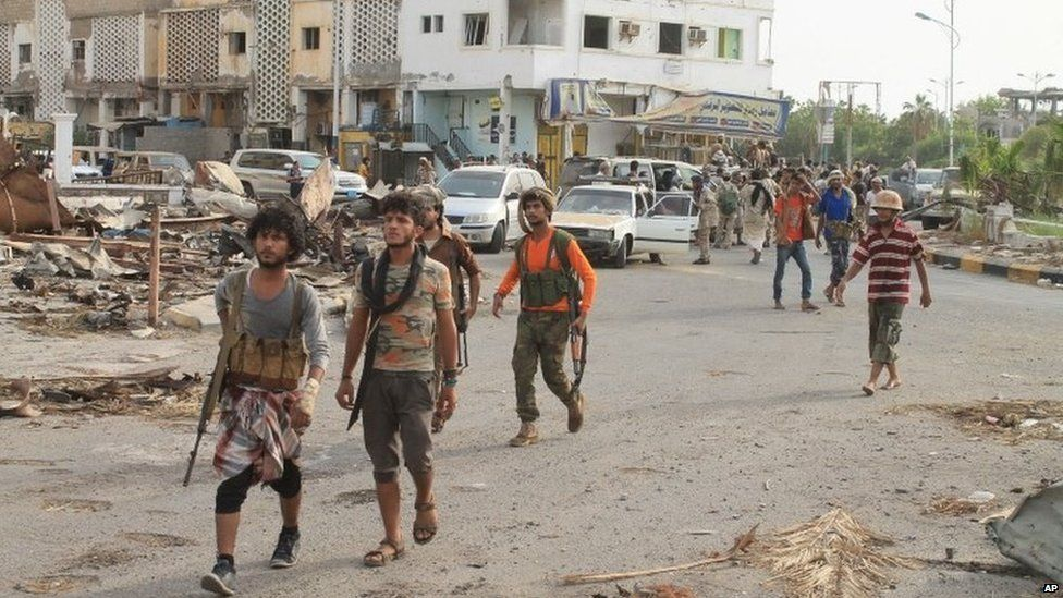 Loyalists fighting Shia rebels known in Aden, Yemen, 16 July