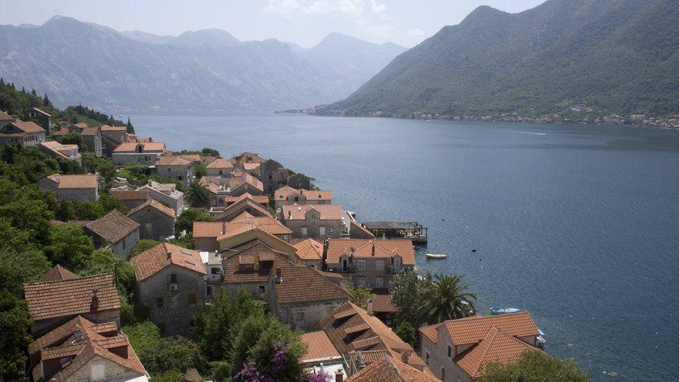 Persat and the Adriatic Sea, Bay of Kotor, Montenegro