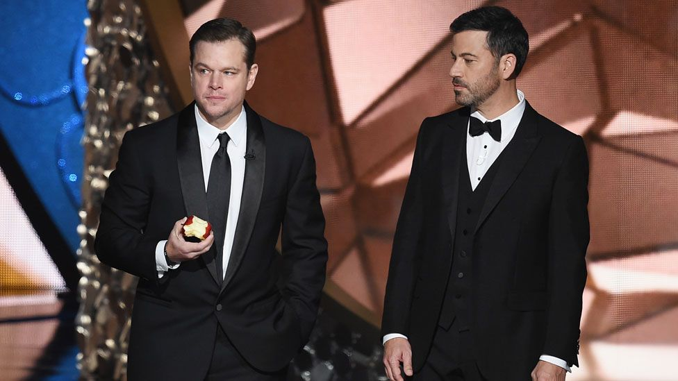 Jimmy Kimmel with Matt Damon at the 2016 Emmy Awards