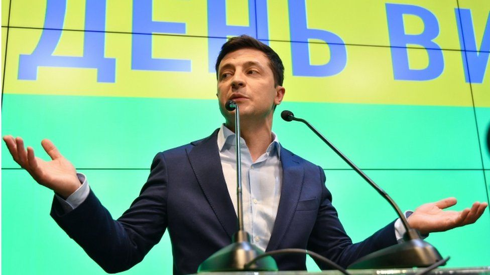 Volodymyr Zelensky speaking at a presidential campaign event in April 2019