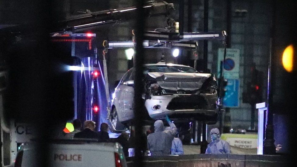 The car was moved from the scene on Tuesday night