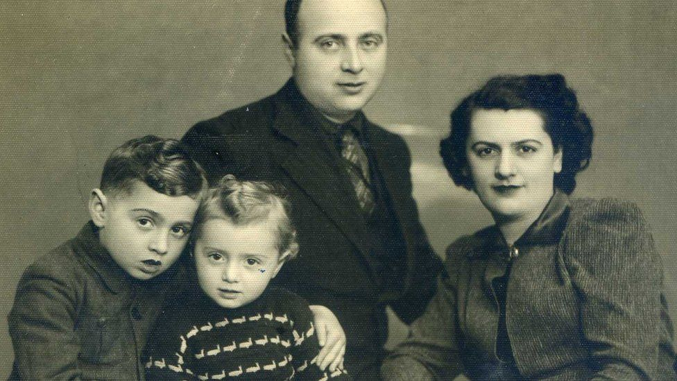 Janek Arenbrg, far left, with his family