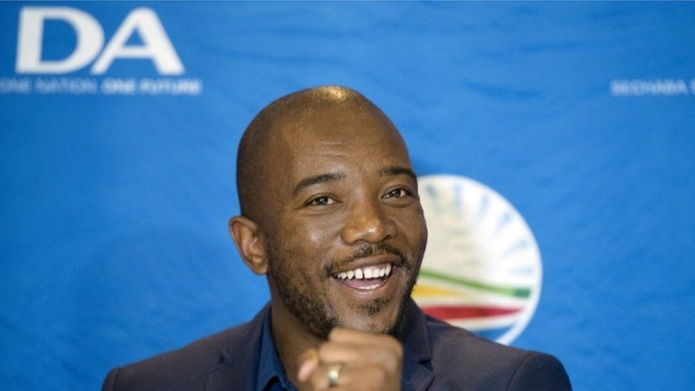 Leader of the official opposition Democratic Alliance Mmusi Maimane talks to the press at the election results center in Pretoria, South Africa, Saturday, Aug. 6, 2016