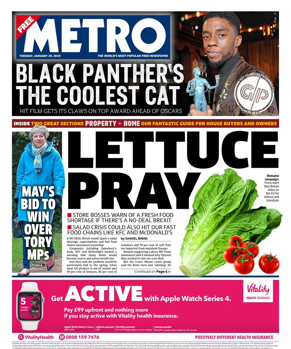 Metro front page - 29/01/19