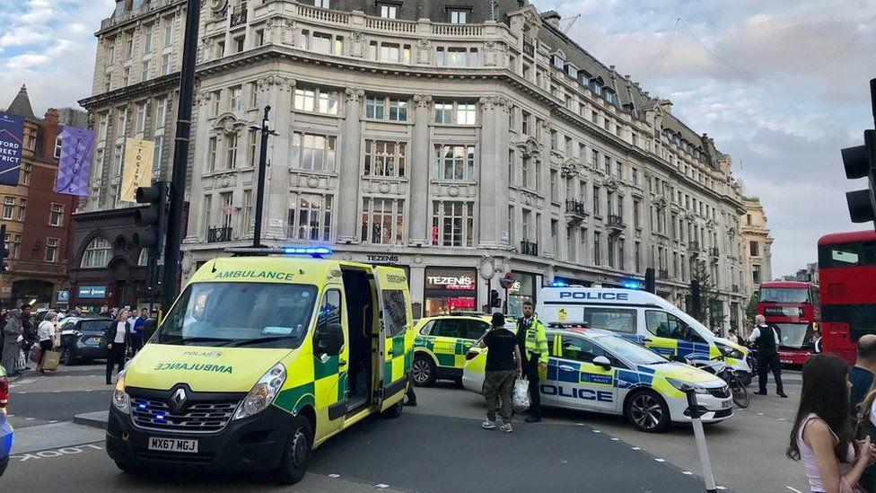 Police and ambulance at Oxford Circus