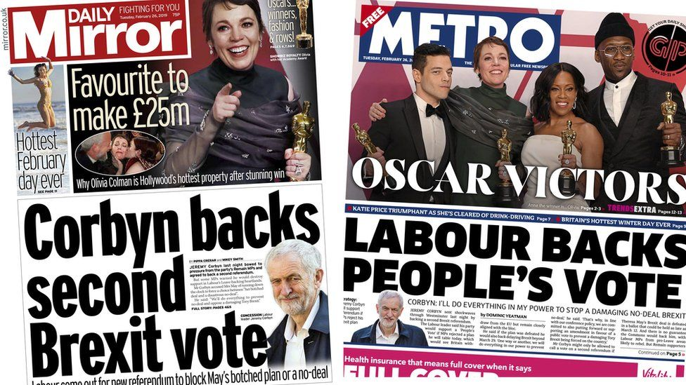 Daily Mirror and Metro front pages for 26/02/19