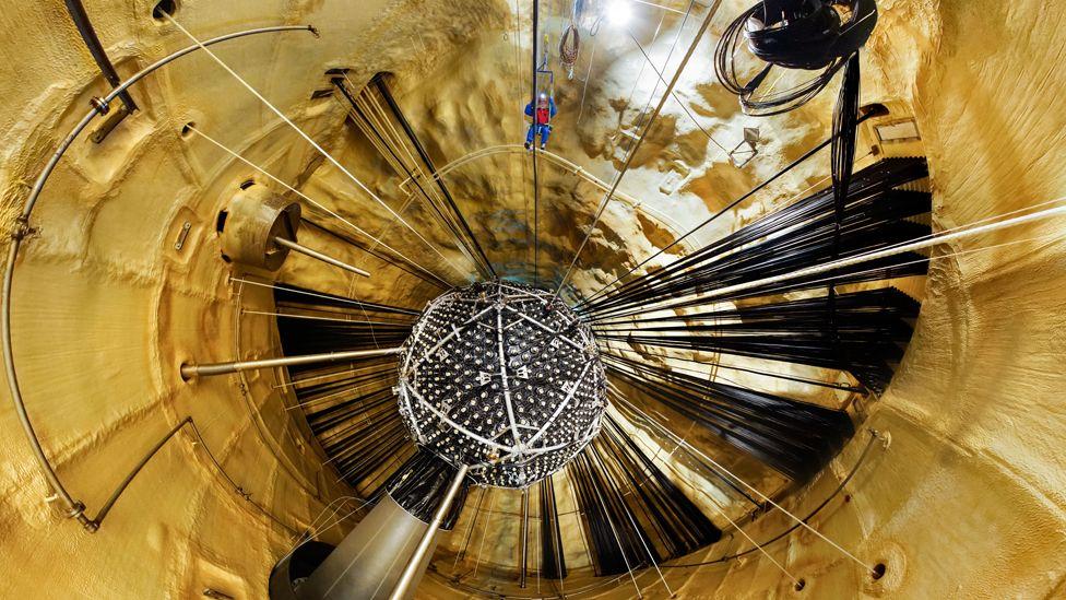 SNO+ neutrino laboratory construction. Located 2km underground at the SNOLAB in Sudbury, Ontario, Canada.