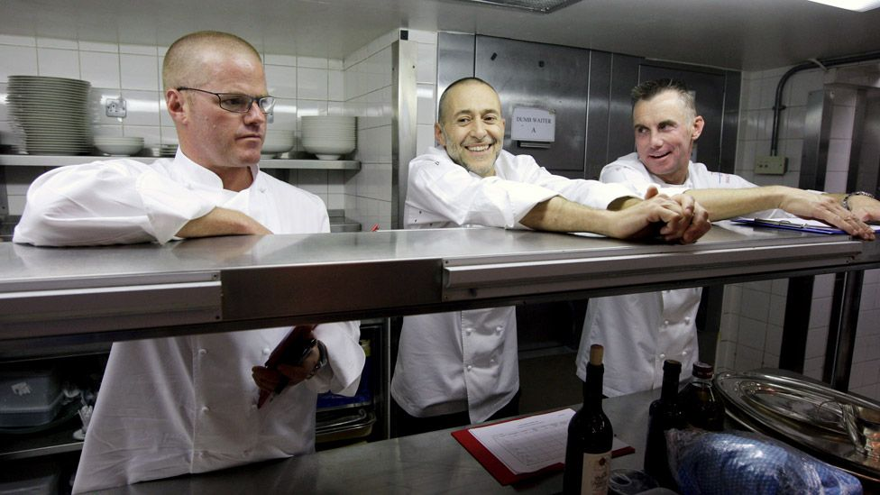 Heston Blumenthal, Michel Roux Jr and Gary Rhodes in 2009
