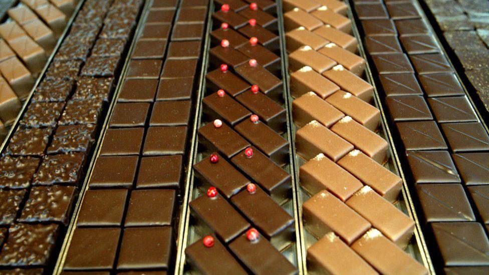 Trays of chocolates