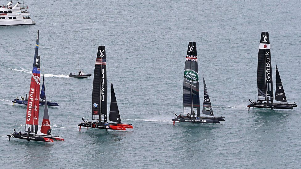 Catamarans lined up, Chicago race