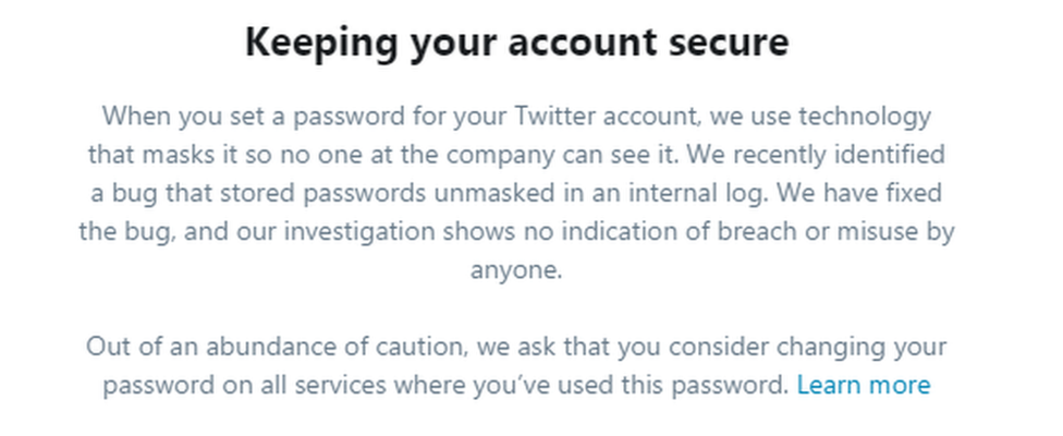 Twitter's warning message