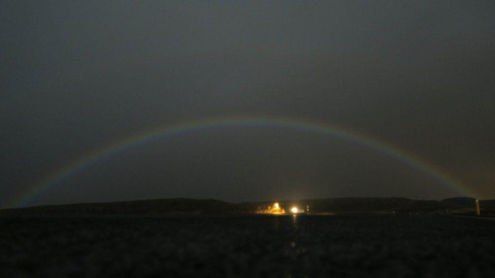 A photograph of the lunar rainbow