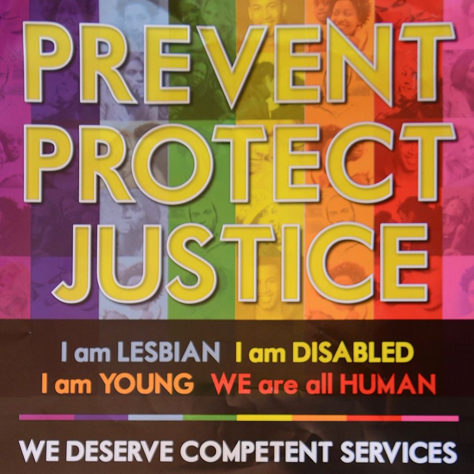 Campaign poster with words: Prevent Protect Justice