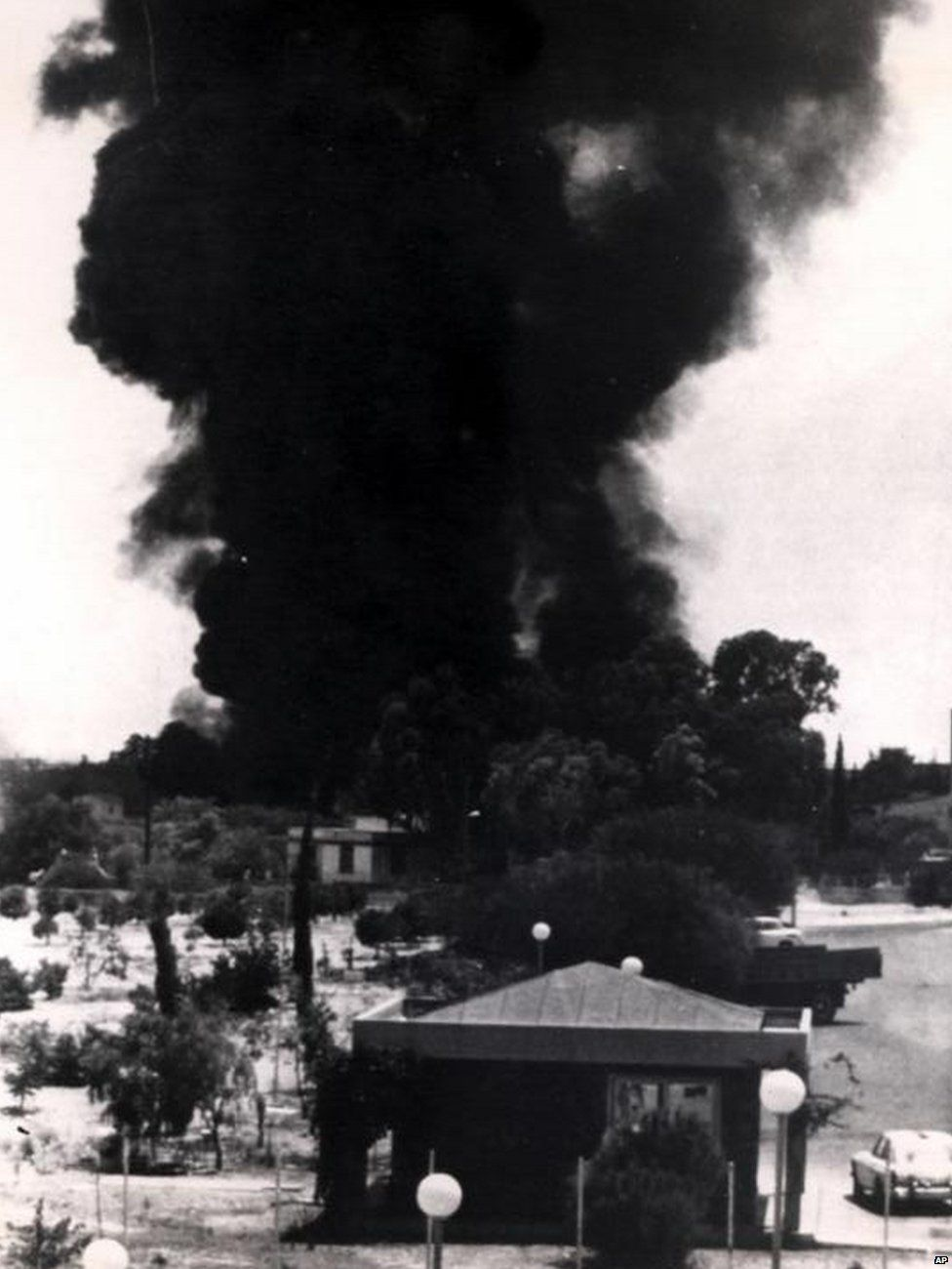 An air strike on Nicosia, Cyprus, by the Turkish Air Force in 1974