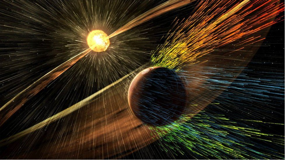 Artist's impression of Mars and the Sun