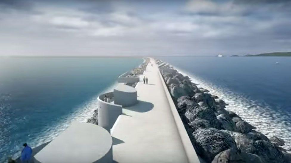 Artist's impression of the lagoon across Swansea Bay