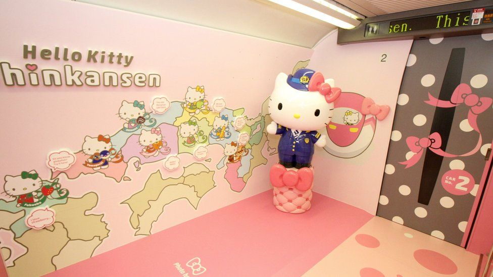 A photo spot inside a Shinkansen train for passengers to pose with popular character Hello Kitty