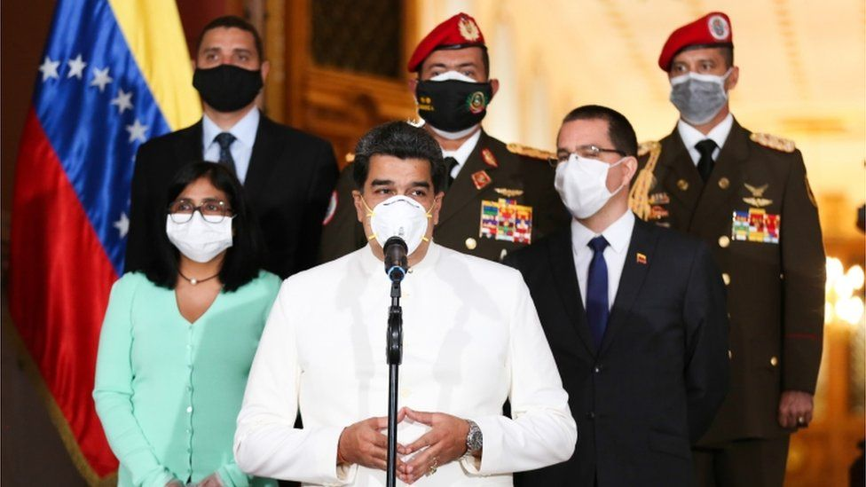 Venezuelan President Nicolas Maduro speaking during a televised message amid the coronavirus pandemic, at Miraflores Presidential Palace in Caracas, on March 30, 2020