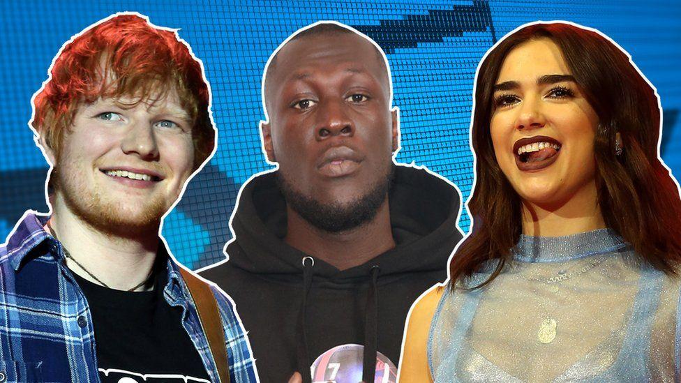 Ed Sheeran, Stormzy and Dua Lipa