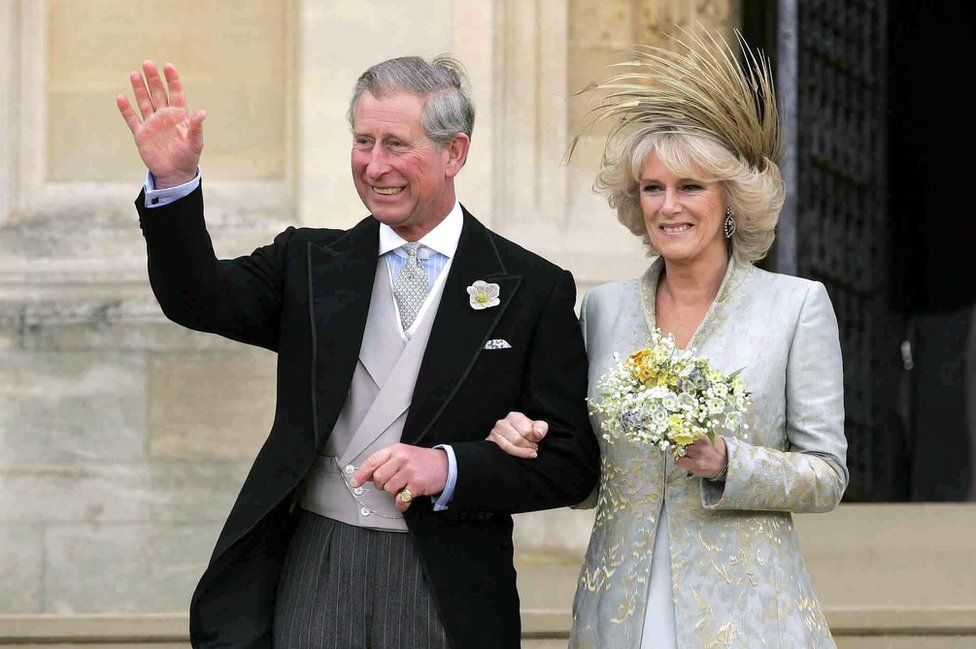 Prince of Wales leaving St George's Chapel, Windsor with the Duchess of Cornwall after a Service of Prayer and Dedication on the day of their marriage