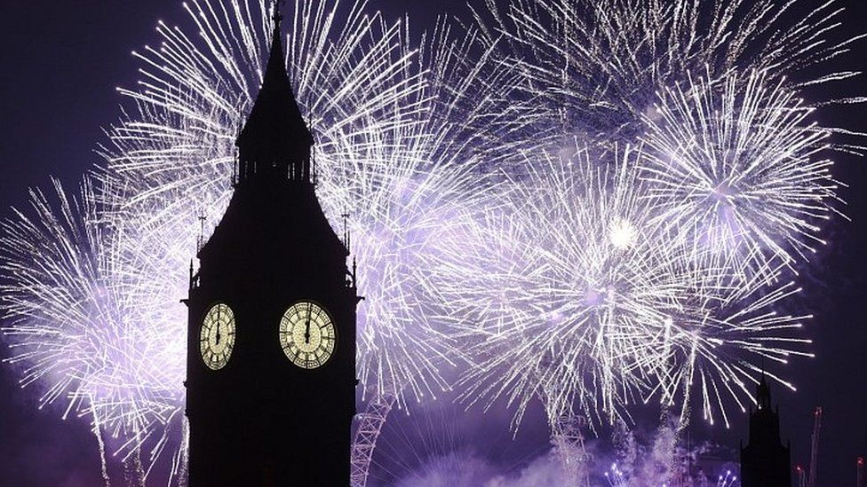 Fireworks behind the clock tower of the Houses of Parliament at midnight on New Years Eve