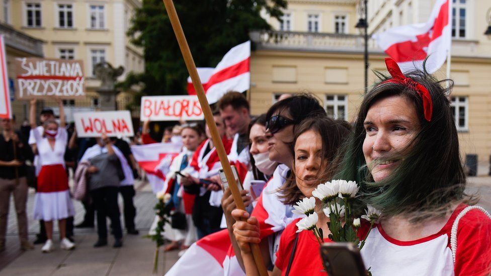 The Belarusian minority living in Poland wait for the exiled Belarus opposition leader