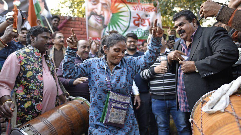 People celebrating the release of IAF pilot Abhinandan Varthaman at Sarojini Nagar on March 1, 2019 in New Delhi, India