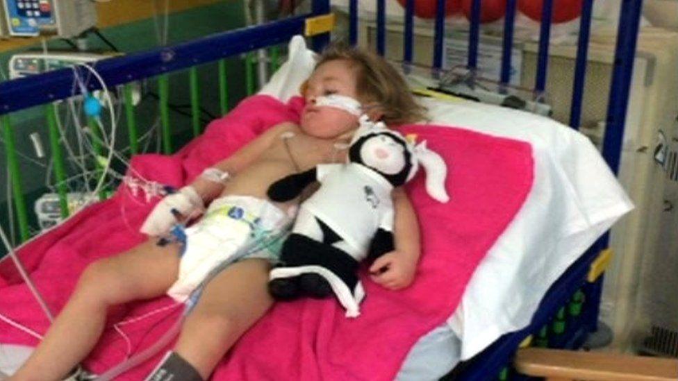 Kacie Barradell in hospital