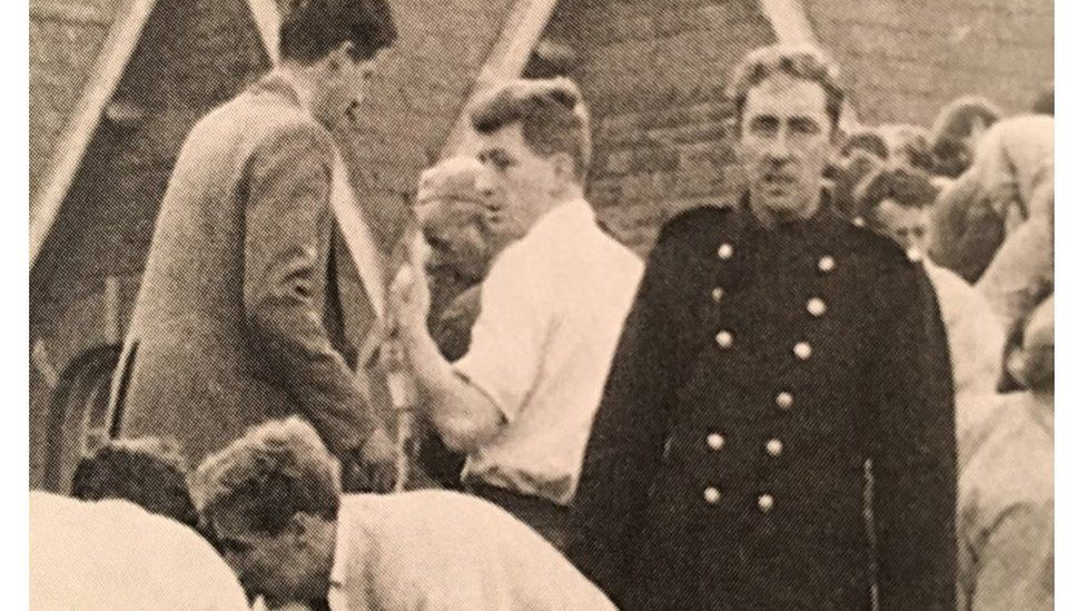 Sir Mansel Aylward (white shirt) at the scene of the Aberfan disaster, in 1966