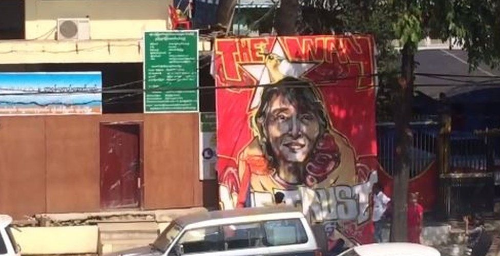 Banner unveiled outside NLD headquarters in Yangon