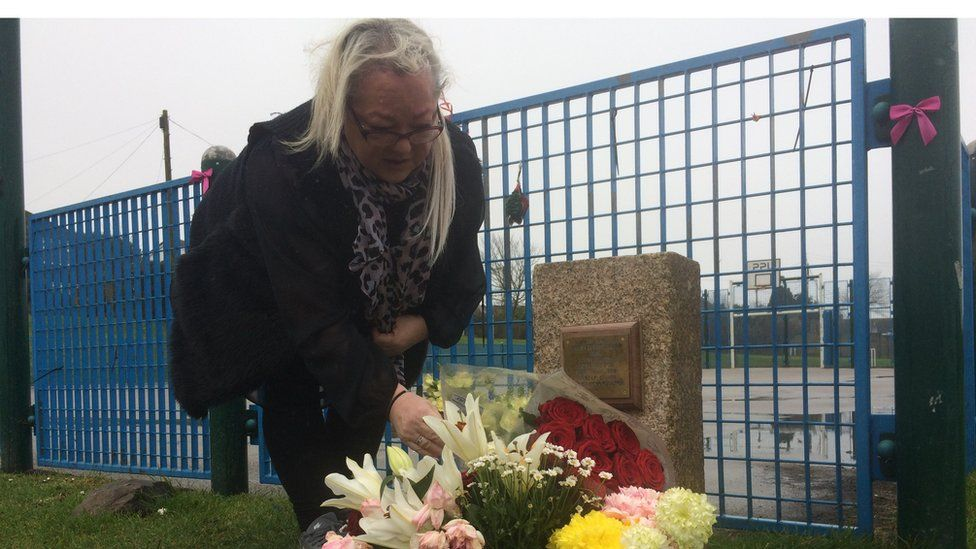 Rita Hole by her daughter's memorial