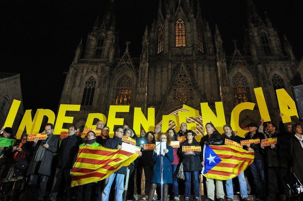 Catalan separatists in Barcelona, 7 Jan 16