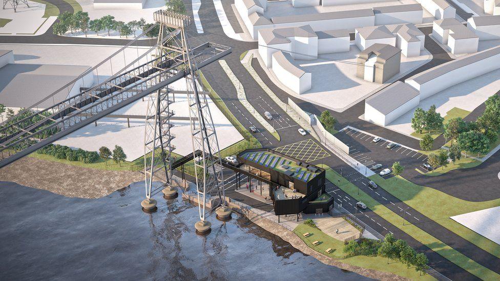 Newport Transporter Bridge - artist impression of new visitor centre