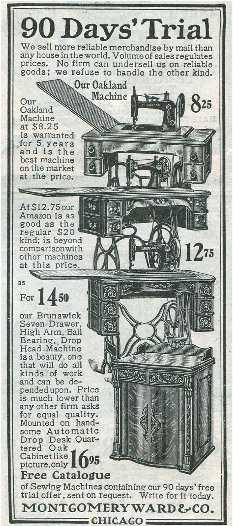 Advertisement for sewing machines in the Montgomery Ward & Company catalogue, 1903.