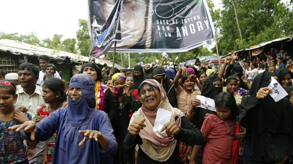 Rohingya refugees protesting one year after Myanmar began its military crackdown in Rakhine state