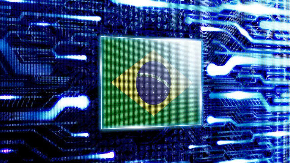 Brazil flag against computer chip background