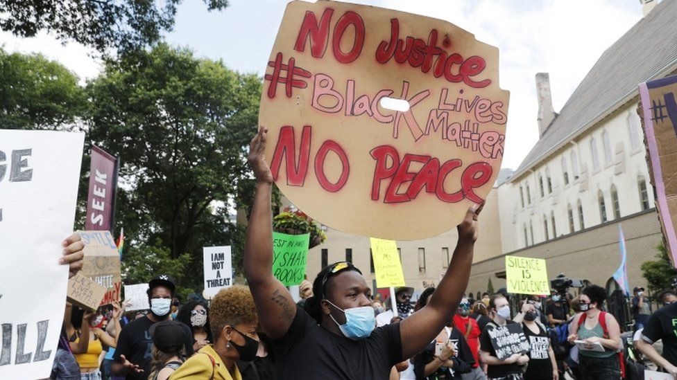Protesters gather in Atlanta after the death of Rayshard Brooks